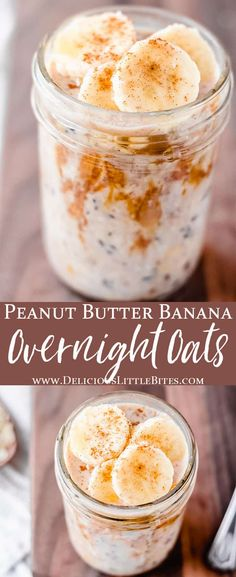 Mornings are very busy and these Peanut Butter and Banana Overnight Oats will definitely simplify them! The combination of peanut butter and banana is the best, especially when maple syrup and cinnamon are added. This is a super easy recipe for a quick, delicious breakfast! #quicksnacks #breakfast #overnightoats #oatmeal Peanut Recipes, Oatmeal Recipes, Snack Recipes, Brunch Recipes, Dessert Recipes, Snacks, Best Breakfast Recipes, Sweet Breakfast, Breakfast Ideas