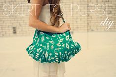 ohmygosh. Skirt to purse diy.   I want to go to the thrift store and pick out a funky vintage skirt and do this. Yessss