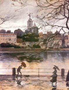 #rain. Painting by Alexandre Benois, 1896 바젤강변의 비,알렉산드로 브누아
