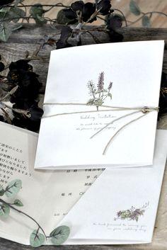 【サラ招待状】 ハトメを開けて麻紐で包んだナチュラルな結婚式招待状