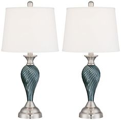 Arden Set of 2 Glass Twist Table Lamps with LED Bulbs