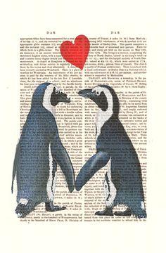 Penguins With Love Heart Original Illustration Art Print Mixed Media Painting Valentine Gift Penguin Print Wall Decor Wall hanging. $10.00, via Etsy.