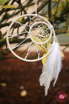 FREE SHIPPING White Crescent Moon Dreamcatcher with by HandyLexy, $16.75