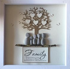 Pebble Art Family Tree, Gallery wall home decor hand made to order, unique Wedding gift personalised & customised to the couple family Personalized family tree picture Mother's Day gift pebble art Arts And Crafts For Adults, Arts And Crafts Projects, Crafts For Kids, Family Art Projects, Unique Wedding Gifts, Personalized Wedding Gifts, Unique Gifts, Unique Art, Family Tree With Pictures