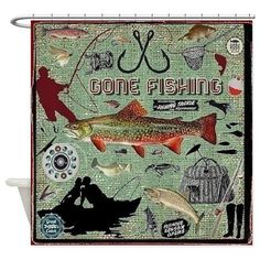 Gone Fishing Shower Curtain on CafePress.com