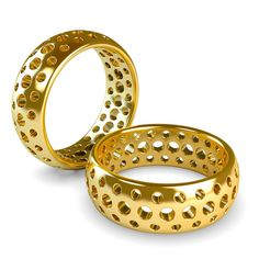 drilled holes in gold rings