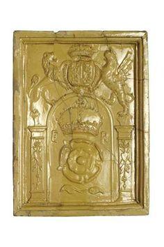 Stove tile of yellow-lead glazed earthenware: 16th century