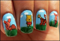 Winnie The Pooh Manicure by crazypolishes.com http://www.crazypolishes.com/2013/06/winnie-pooh-manicure.html