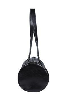 Side #leather #black #cylinder #handbag #barrel #barrelbag