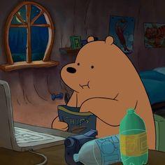 We Bare Bears Wallpapers, Panda Wallpapers, Cute Cartoon Wallpapers, Cartoon Profile Pictures, Cartoon Pics, Aesthetic Themes, Aesthetic Anime, Bear Gif, Bear Character