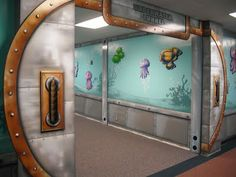 """One day at Living Waters.Worlds of Wow - An """"underwater tunnel"""" themed hallway at Trinity Baptist Church, Lake Charles, LA. Kids Church Decor, Kids Church Rooms, Worlds Of Wow, Submerged Vbs, Classroom Decor Themes, Preschool Themes, Classroom Ideas, Murals For Kids, Church Design"""