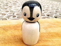 Penguin Kokeshi Doll. Handmade and handpainted. by mascotidiana, $30.00