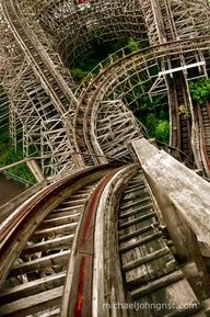 "Amazing shot from the top of the wooden roller coaster ""Aska"". Abandoned amusement park ""Nara Dreamland"" 奈良ドリームランド, Nara, Japan 1961 - Photo by Michael John Grist. Abandoned Buildings, Abandoned Places, Abandoned Castles, Haunted Places, Abandoned Mansions, Abandoned Theme Parks, Abandoned Amusement Parks, Nara, Magic Places"