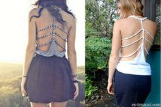 DIY Braided Back Shirt. I wish I could pull this off as a shirt, but the whole no bra thing just doesn't work for me. I would totally wear it as a swim cover-up though!