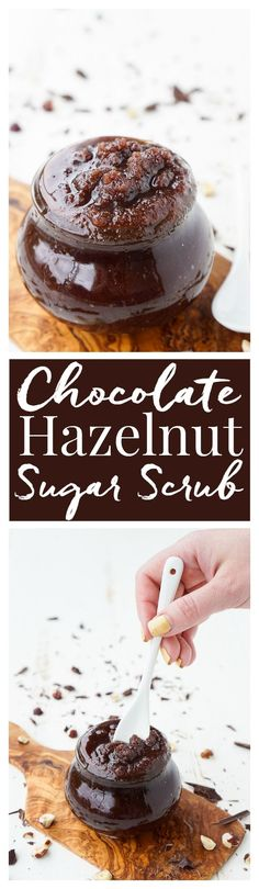 This Chocolate Hazelnut Sugar Scrub is the most decadent DIY beauty product you will ever try! It smells like brownie batter!