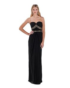 Strapless Beaded Bodice Evening Gown