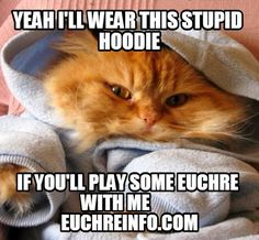 Yeah I'll wear this stupid hoodie if you'll play some Euchre with me.