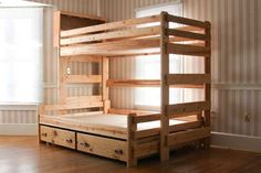 FREE shipping! Twin over full bunk bed with storage drawers built using plans from Bunk Beds Unlimited