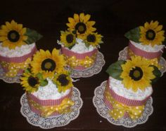 Baby Que Baby Shower Diaper Cake Centerpieces With Sunflowers Other Colors  Too. May Be An