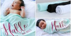 Announce your new bundles of joy in our personalized boutique quality baby blankets.  Choose from two font types and 9 font color choices.  Name size will be adjusted to fit the blanket.Blanket Colors:  Mint, Black, White, blankets are 65/35 Cotton PolyFont Style:  Script and Block FontFont Colors (Heat Transfer Vinyl):  Black, Grey, White, Gold Glitter, Silver Glitter, Hot Pink Glitter, Light Pink Glitter, Teal Glitter, Lavender Glitter.