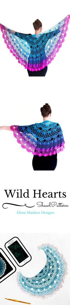 Beautiful crochet shawl pattern with hearts.Pattern on Ravelry. Large and lacy, fully written and fully charted!
