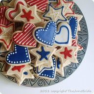 4th of July #star #heart #cookies