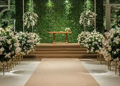 Hanging Florals Wedding Ceremony