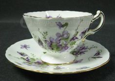Victorian Violets from England's Countryside by Hammersley.. My Head Teacher/Principle gave me a big tea set of this pattern  when I married 1957.. She always regretted I failed the 11 plus exam and wasn't allowed to go to art school in Sheffield  I was an undiagnosed dyslexic ..I gave them to my mum and when she died I bought them to Canada.. so they hold lots of memories for me.