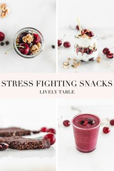 Fight stress naturally with food! Here are 4 easy, healthy, and delicious mood-boosting snacks to reach for when you're stressed, naturally sweetened with Northwest sweet cherries. #NWCherriesPartner #cherryhealthbenefits #stressfightingfoods #nutritiontips #stressrelief #stressfighting #cherryrecipes #healthysnacks #naturalstressrelief #easyhealthysnacks #nobakesnacks #healthysnackideas ##healthysnackrecipes #sweetcherries #summerrecipes #easysnacks #freshcherries Cherry Recipes, Fruit Recipes, Whole Food Recipes, Snack Recipes, Recipies, No Bake Snacks, Easy Snacks, Healthy Snacks, Healthy Sweets