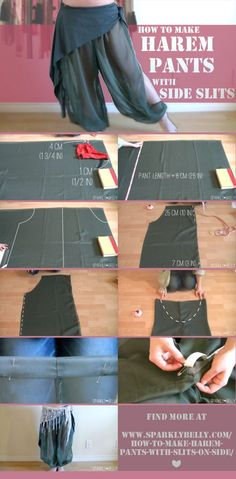 Cosplay Ideas How to Make Harem Pants with Slits on Side - SPARKLY BELLY - Here is a step-by-step tutorial on DIY harem pants with slits on side. These are so cute on their own, or layer them with overskirts, hip scarves or circle skirts. Diy Clothing, Sewing Clothes, Clothing Patterns, Sewing Patterns, Shirt Patterns, Dress Patterns, Doll Clothes, Belly Dance Costumes, Diy Costumes