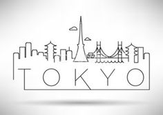 Tokyo City Line Silhouette Typographic Design