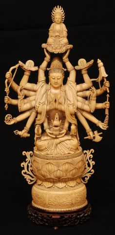 Antique Chinese hand carved ivory 20 arm Guan Yin figure