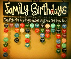 Birthday calendar Stencils, black and white paint or paint pens, connectors, button or flower decorations.