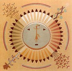 Pollen Boy on the Sun:  Eugene Baatsoslanii Joe, Mark Bahti - Navajo Sandpainting Art - Treasure Chest Publications, Inc. 1978.