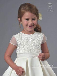 Short Sleeve Beaded Tulle Flower Girl Dress by Mary's Bridal Cupids F561-Mary's Bridal Cupids Collection-ABC Fashion