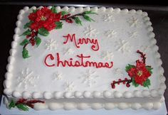 11 Christmas Anniversary Sheet Cakes Photo - Christmas Sheet Cake Designs, Christmas Sheet Cake and Christmas Sheet Cake Designs Christmas Cake Designs, Christmas Cake Decorations, Christmas Cupcakes, Christmas Sweets, Holiday Cakes, Noel Christmas, Christmas Baking, Xmas Cakes, Sheet Cakes Decorated