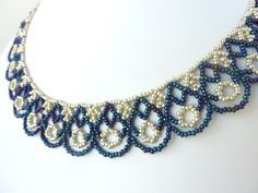 FREE beading pattern for lovely scalloped lace necklace made from seed beads, DIY Jewelry.