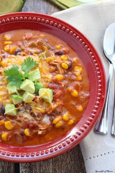 Slow Cooker Chicken Enchilada Soup - a warm and comforting meal perfect for the weeknight! Let dinner cook in your slow cooker and come home to a flavorful meal! Check out the website to see Crock Pot Slow Cooker, Crock Pot Cooking, Slow Cooker Chicken, Slow Cooker Recipes, Soup Recipes, Chicken Recipes, Cooking Recipes, Healthy Recipes, Rice Recipes