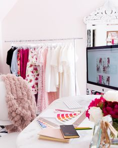 feminine-office-space-pink-peonies - 62