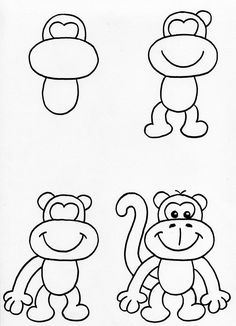How to draw easy easy monkeys to draw met monkey drawing easy cartoon monkey drawing easy cartoon drawings simple monkey draw easy cat face Monkey Drawing Easy, Cartoon Monkey Drawing, Cartoon Drawings Of Animals, Art Drawings For Kids, Disney Drawings, Drawing For Kids, Art For Kids, Simple Drawings, Draw Animals