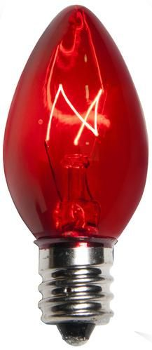 25 Bulbs - C7 Triple Dipped Transparent Red, 5 Watt lamp