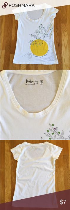 "White Tee-Shirt with Hawaiian Saying Takkunya white scoop neck tee-shirt. Purchased in Turkey. Design on the front with Hawaiian saying ""The peace for always, now and forever and evermore..."". 100% cotton. Size listed as M but closer to a S. Length about 24.5"", width under armpits about 15"". Very good condition. Kept in a smoke free home. Takkunya Tops Tees - Short Sleeve"