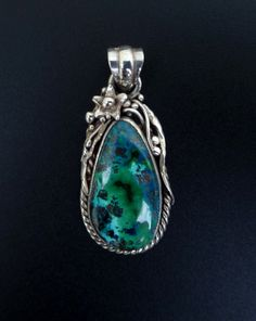 One of a Kind Sterling Silver and Azurite Statement by fishsilver, $95.00