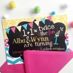 A colorful and bright twin girl birthday party invitation