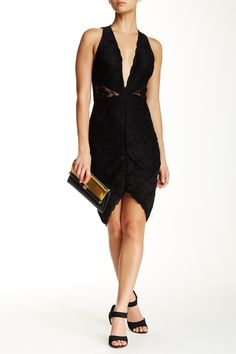 Wow Couture | Sleeveless V-Neck Plunge Lace Cutout Dress | HauteLook