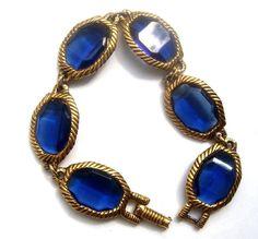 ELEGANT BRACELET blue crystals ART Deco от ODMIVINTAGE на Etsy