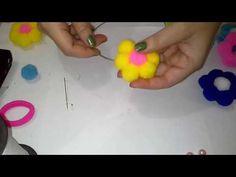 Flor de pompons no arco de perolas ou arco simples - YouTube