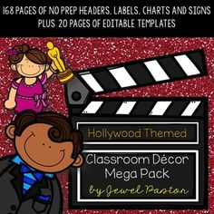 Hollywood Theme : Hollywood ThemeEnjoy all the glitz and glamour of Hollywood with this Hollywood Themed Classroom Decor Mega Pack. It comes with 170 pages of NO PREP HEADERS, LABELS, CHARTS AND SIGNS plus 21 pages of EDITABLE PARTS/TEMPLATES.The following are included in the pdf file:Word Wall HeaderAlphabet Chart (Uppercase and Lowercase) Name Tags Welcome Banner CalendarSet (Months, Days and Dates) Schedule Cards ...