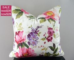 Floral Home Decor,Watercolor Bright Florals Pillow Cover, Floral Decorative Throw Pillow
