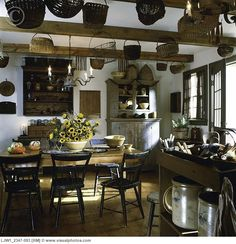 Primitive Kitchen with Hanging Baskets